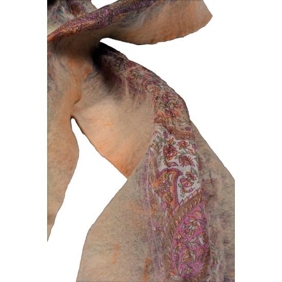 Felt and Silk Shawl - Beige