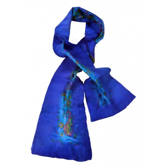 Felt and Silk Shawl -Blue