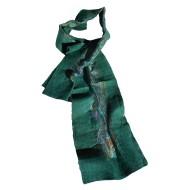Felt and Silk Shawl-Dark Green