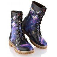 Grozy Purple Butterfly Ladies / Children's Long Boots