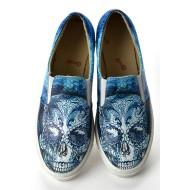 Grozy Blue Skull Vans Ladies Shoes