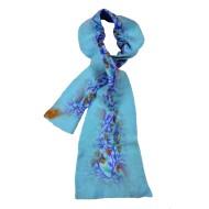 Felt and Silk Shawl - Light Blue