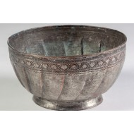 Antique - One-Piece Working Footed Copper Bowl Shaped with Hand Hammer