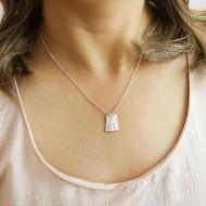 Silver Necklace with License Plate