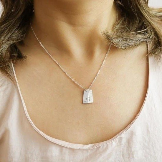 Vertical Letter Plate Necklace