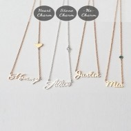Handwritten Name Necklace with Heart or Stone Chain
