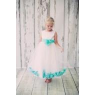 Kids D Aqua Crown Satin Dress
