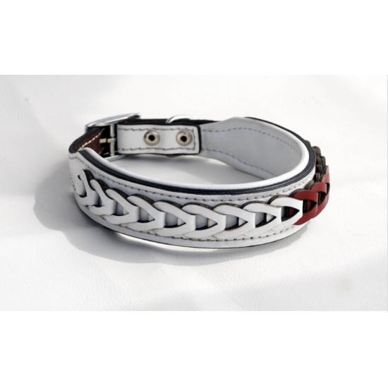 Braided Leather Dog Neck Collar 3 cm