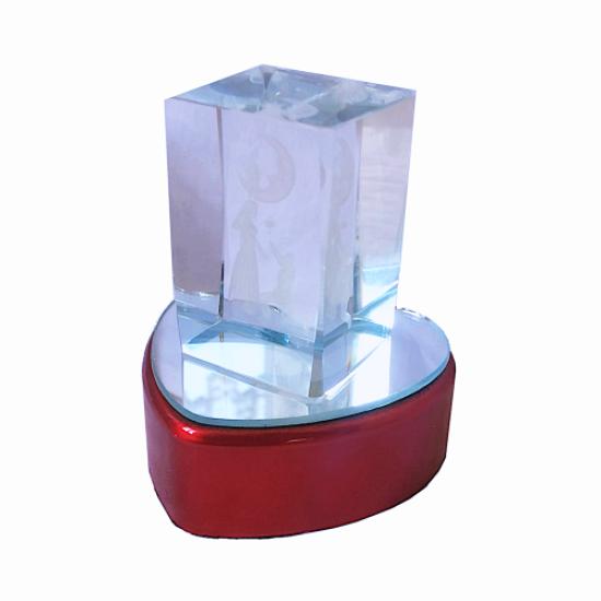 3D Illuminated Heart Crystal Glass Trinket Love Themed