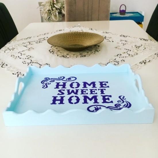 Decorative Wood Service Tray Blue