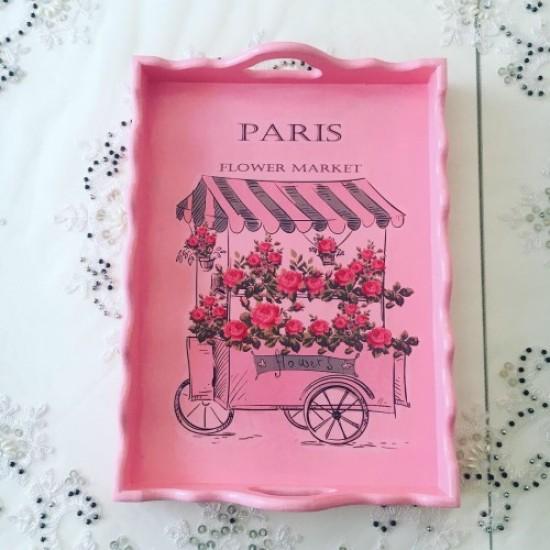 Decorative Wood Service Tray Pink