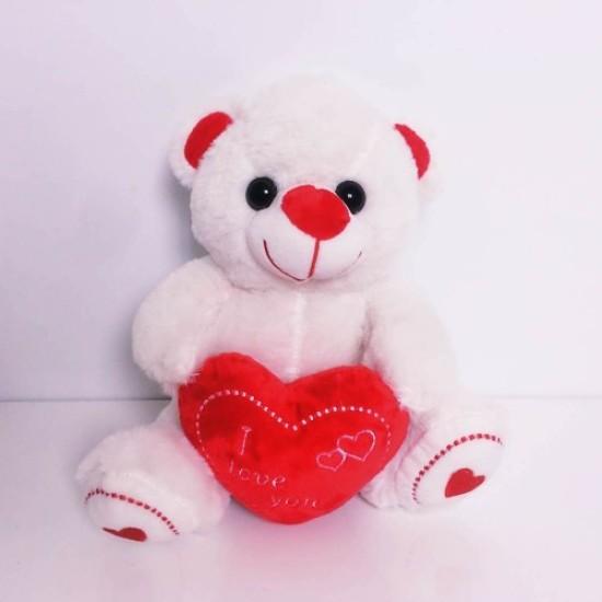Cute Red Heart White Plush Teddy Bear Medium Size 25 cm