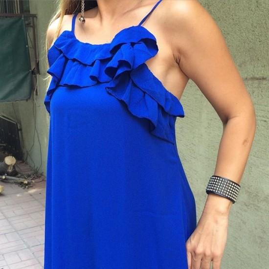 Mavi fırfır detaylı elbise