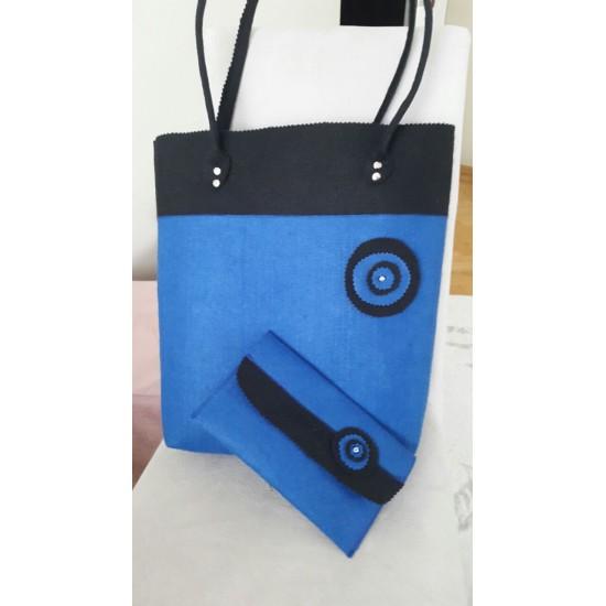 Keçe Çanta -Mavi
