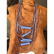 Blue Orange Design Necklace