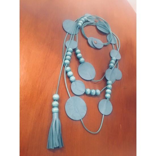 Blue Beaded Design Necklace