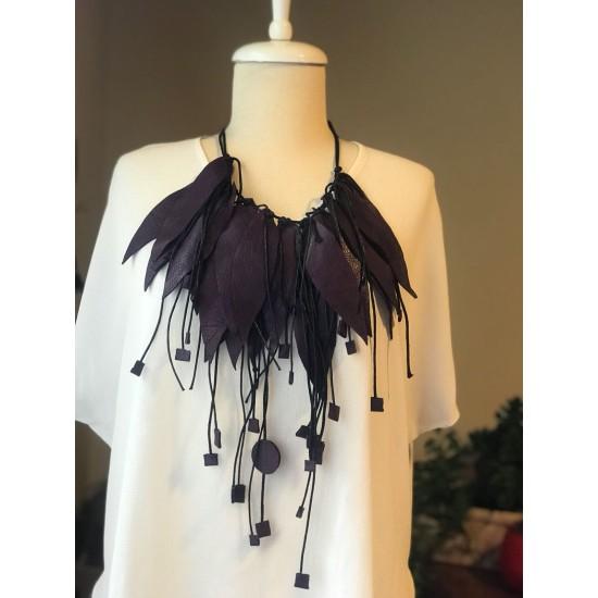 Purple Leather Necklace