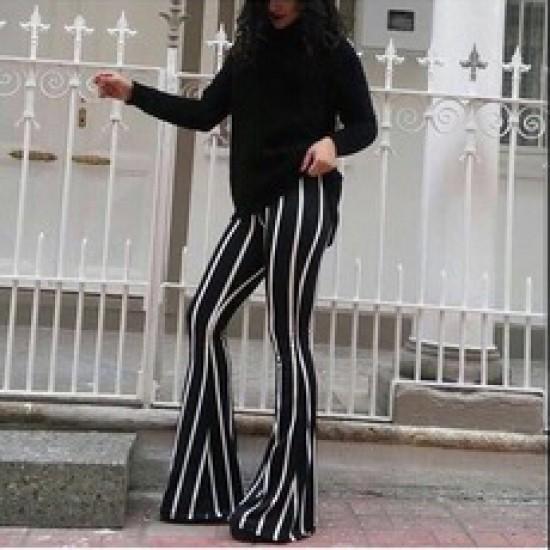 Burç Textile Çizgili İspanyol Paça Pantolon