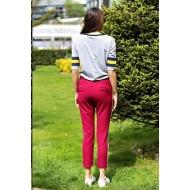 Horoscope Textile White Striped Pants