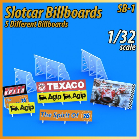 Slotcar Scenery Building Track Billboards 5X 1:32 Scale